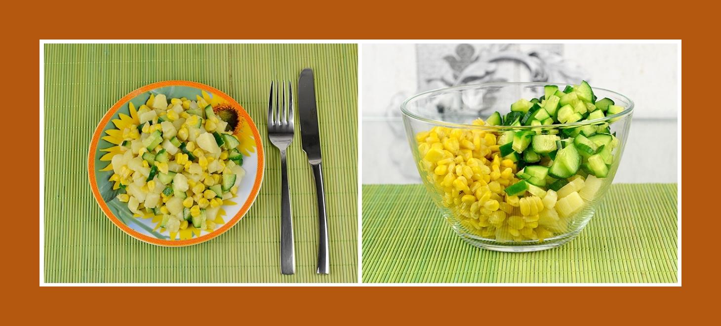 Kartoffelsalat mit Gurken und Maiskörnern