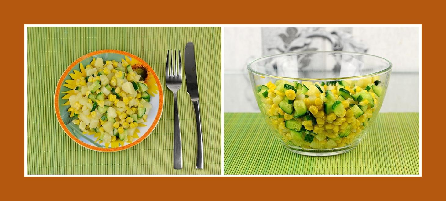 Schnell Salat zubereiten aus Kartoffeln, Gurken, Mais