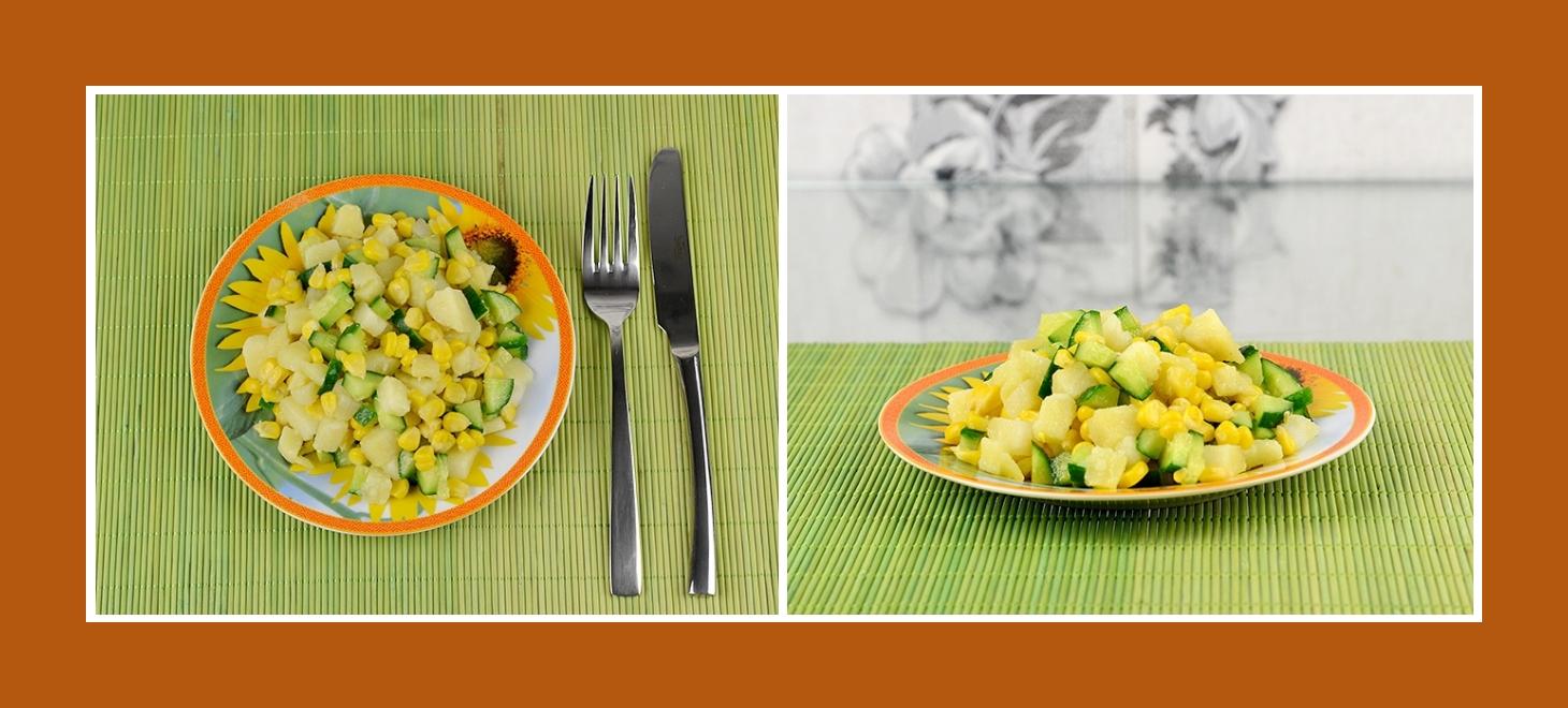 Bunter Kartoffelsalat mit konserviertem Mais und frischen Gurken