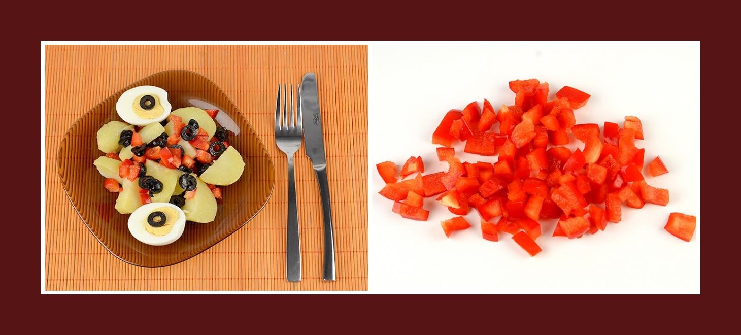 Kartoffelsalat mit roter Paprika