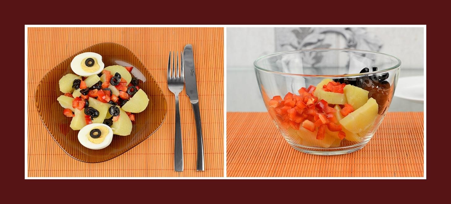 Salat mit Kochkartoffeln, Paprika und Oliven