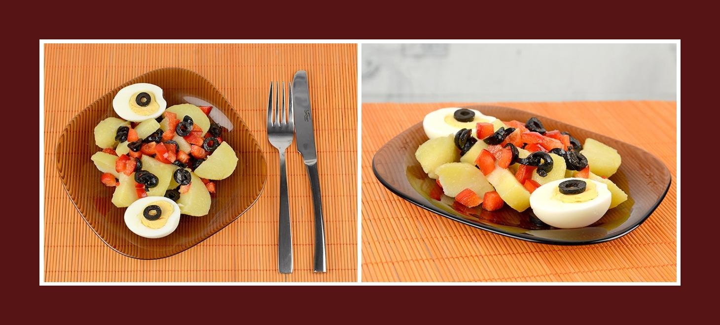 Kartoffelsalat aus Paprika und Oliven mit Ei servieren