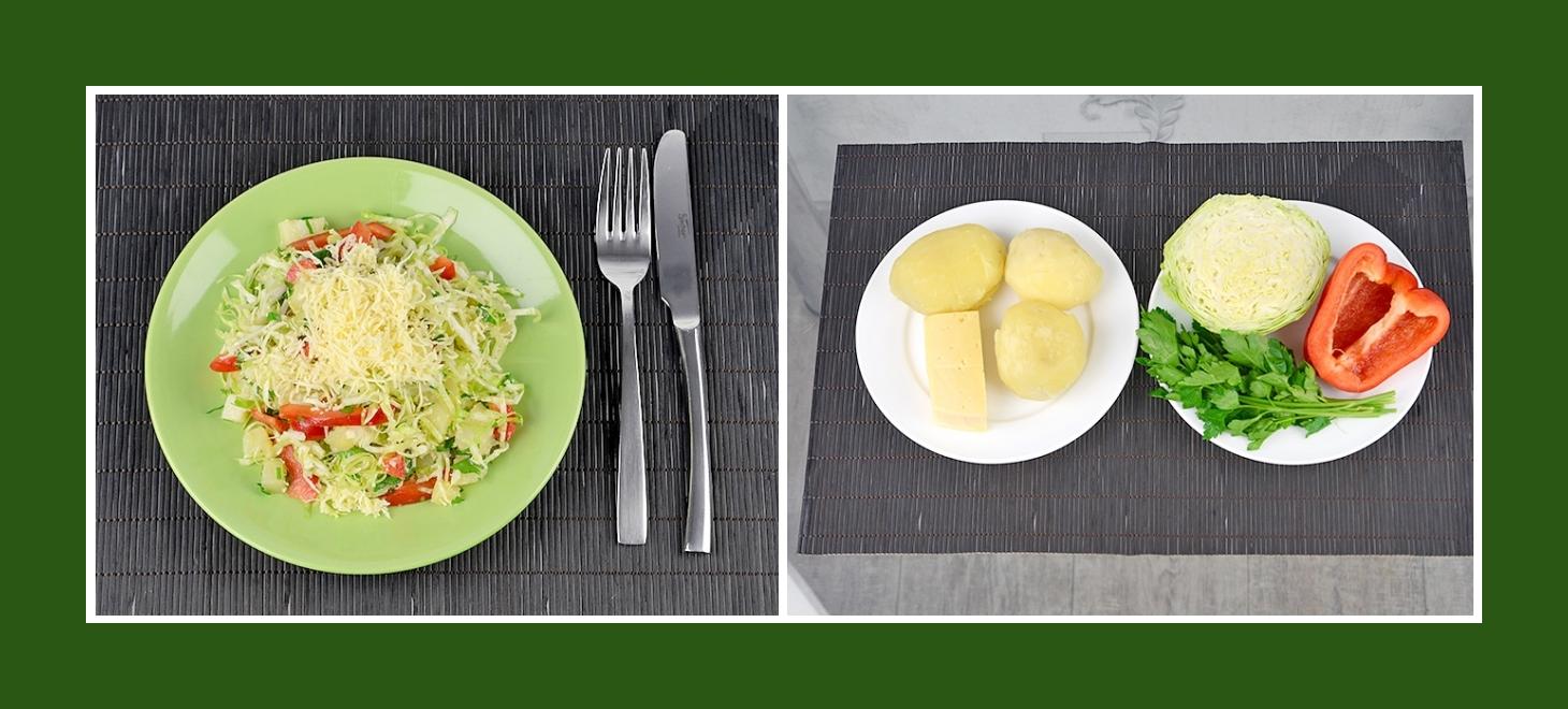 Zarter Kartoffelsalat mit Frühkraut, roter Paprika, pikanter Petersilie und Käse