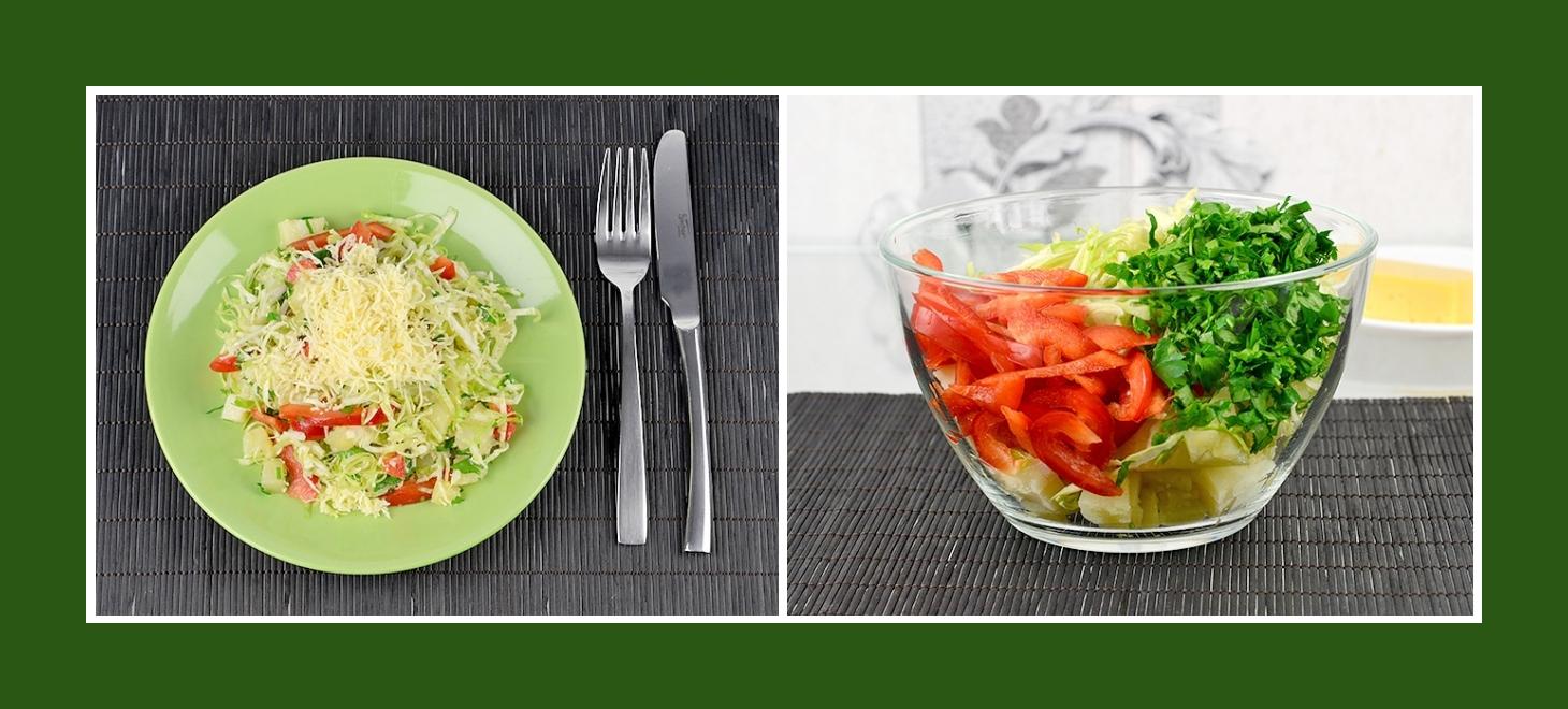 Bunter Kartoffelsalat mit roter Paprika, grüner Petersilie und Frühkraut