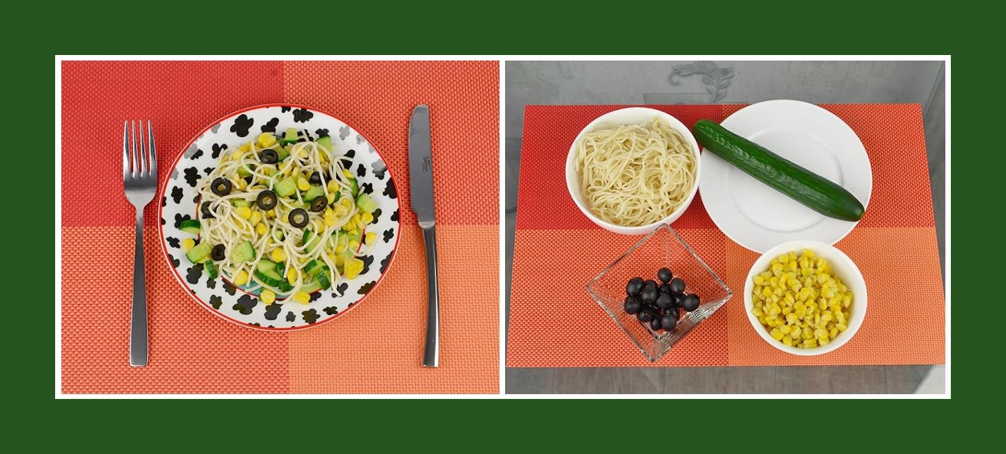 Leichter Nudelsalat aus Spaghetti, schwarzen Oliven, knuspriger Gurke und süßem Mais