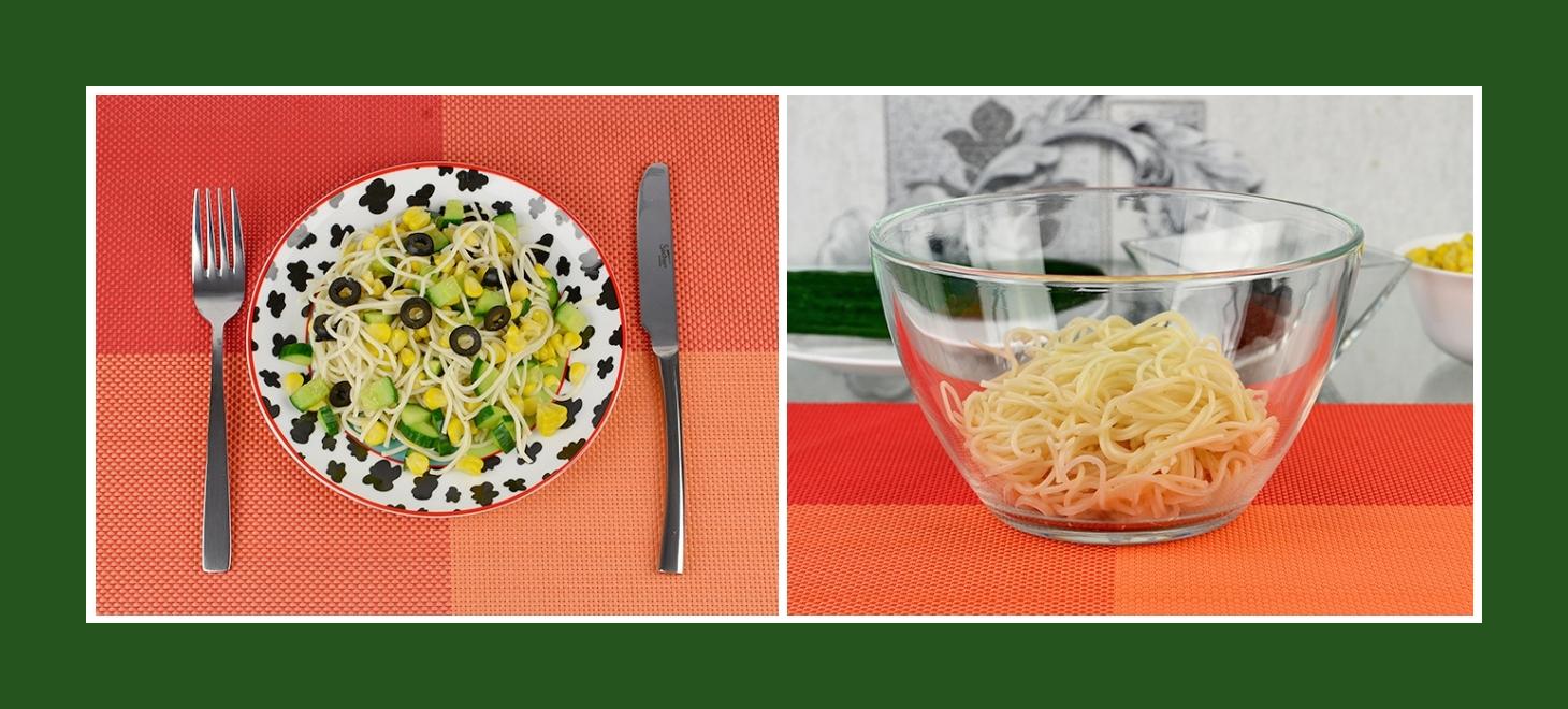 Nudelsalat für jede Saison mit Spaghetti