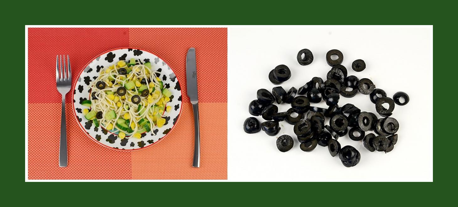 Nudelsalat mit pikanten schwarzen Oliven