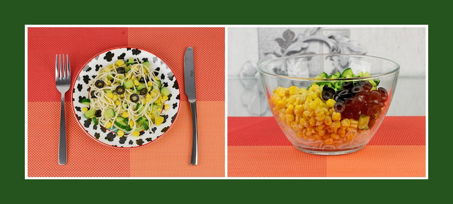 Nudelsalat mit Mais, Oliven, Gurken