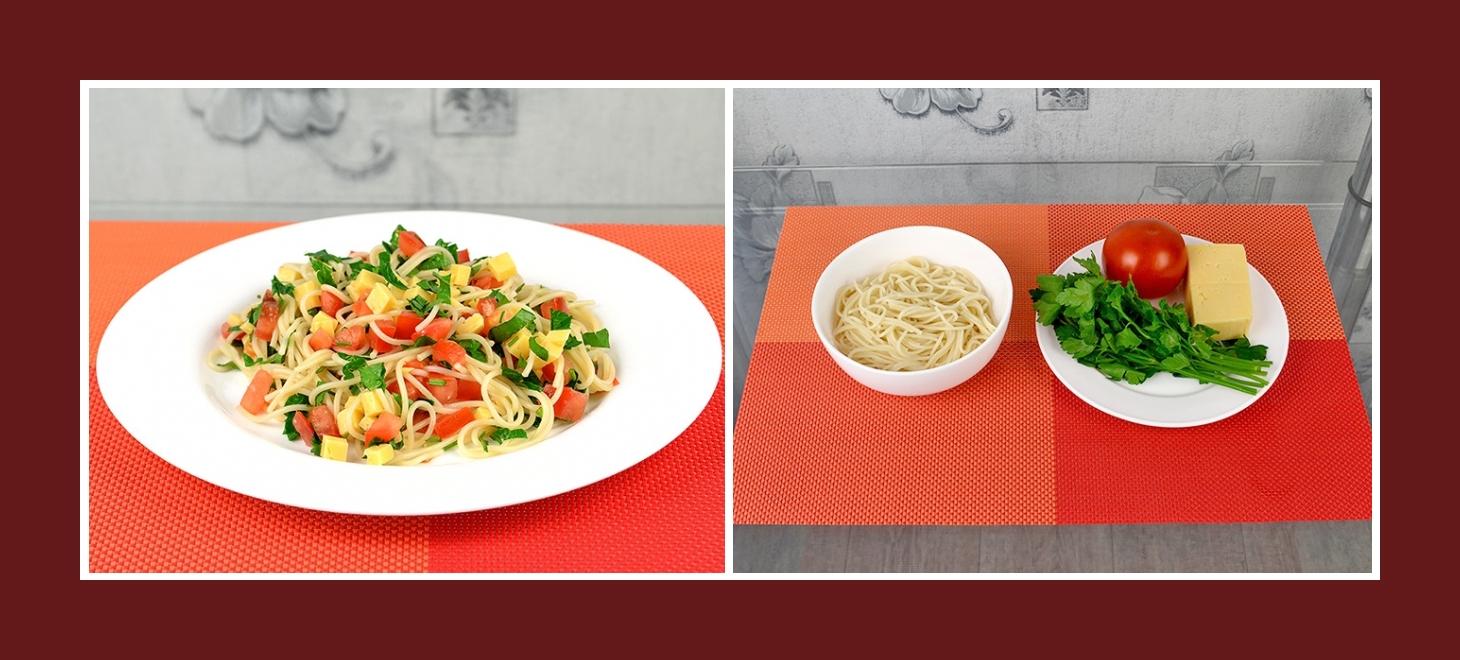 Einfacher Nudelsalat im mediterranem Stil mit Käse, Tomaten und Petersilie