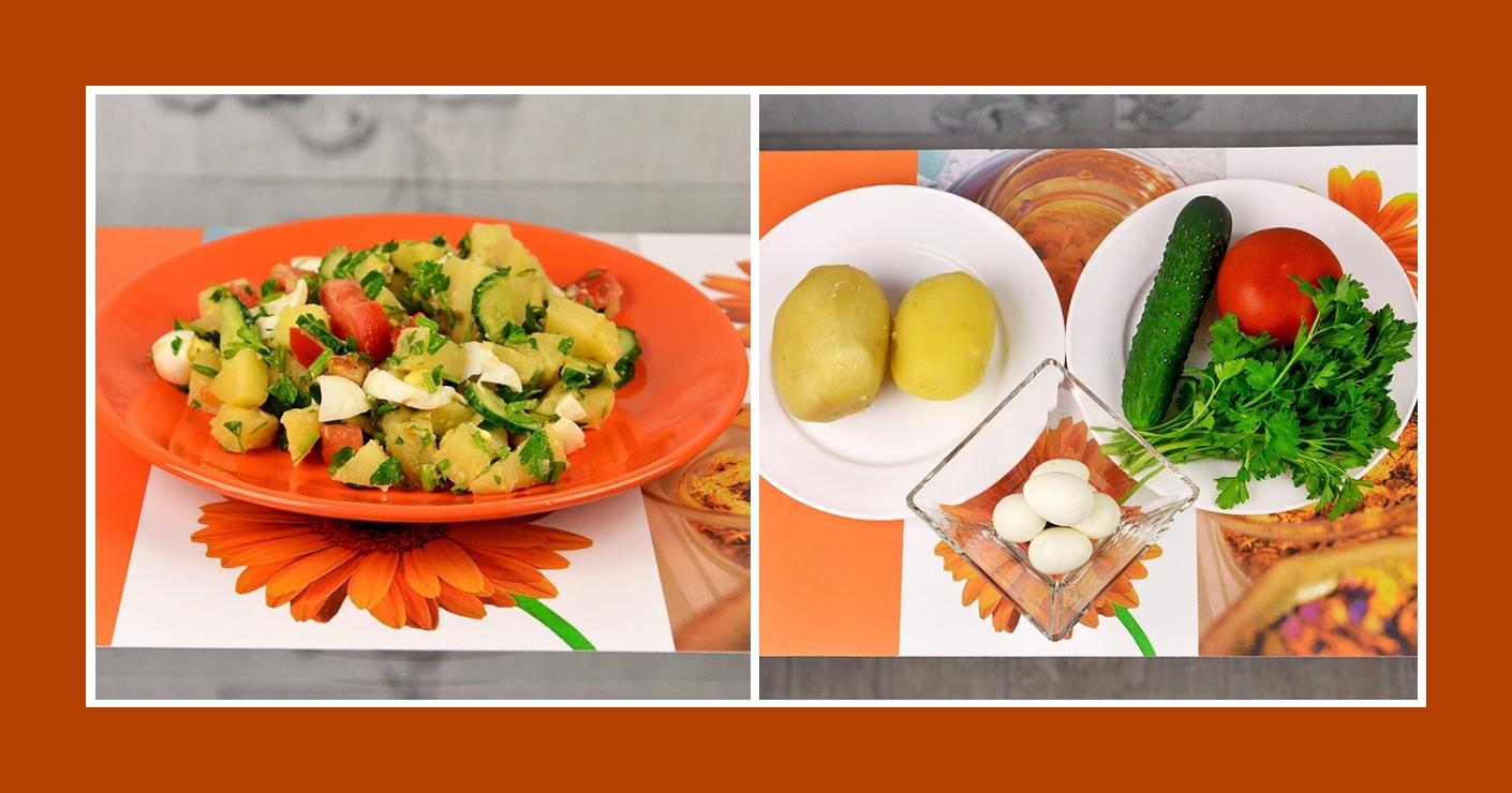Klassischer Kartoffelsalat mit Tomaten, Gurken, Petersilie und Wachteleiern