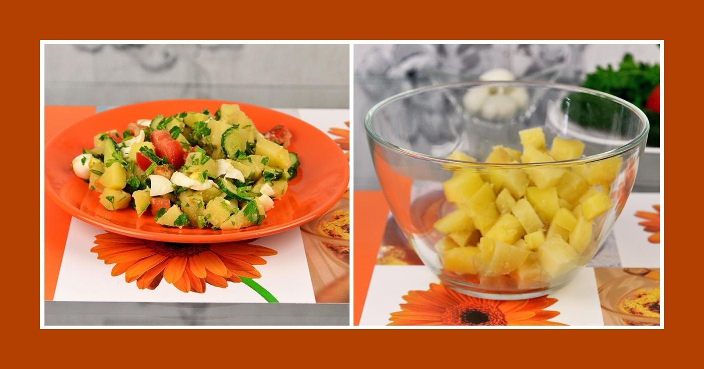 Salat mit gekochten Kartoffeln und frischem Gemüse