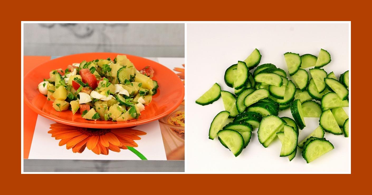 Frische Gurken für Kartoffelsalat mit Wachteleiern