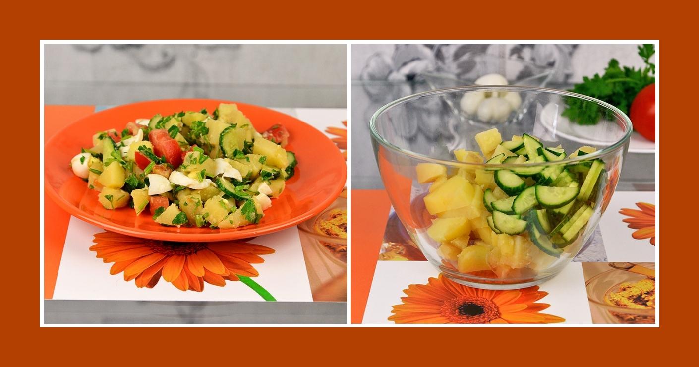 Salat mit gekochten Kartoffeln und knusprig frischen Gurken