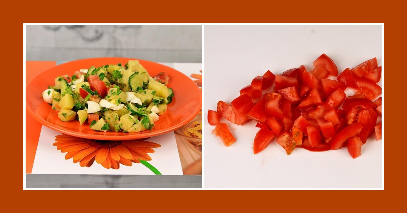 Tomaten für Kartoffelsalat mit Wachteleiern
