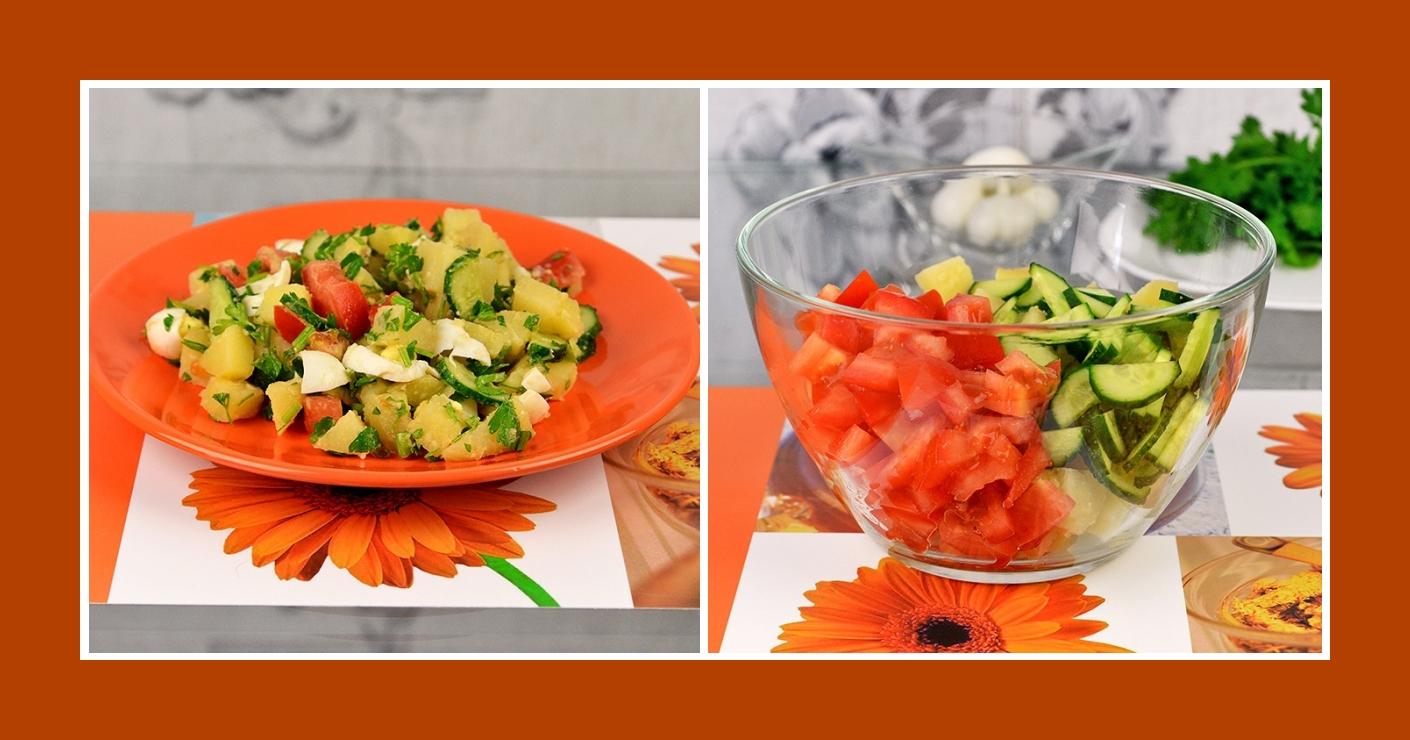 Salat aus Kochkartoffeln, Tomaten und Gurken