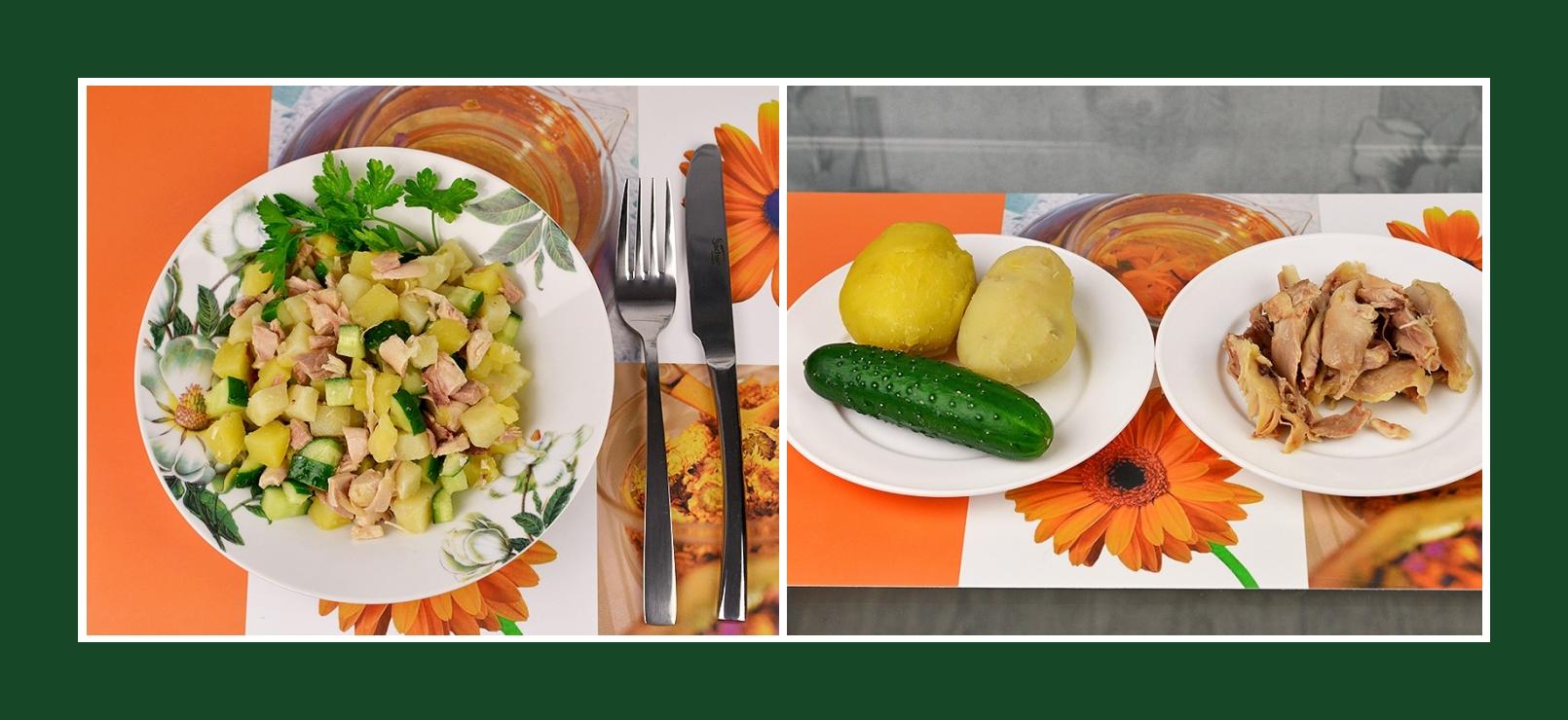 Simpler Kartoffelsalat mit Gurken und Geflügelfleisch