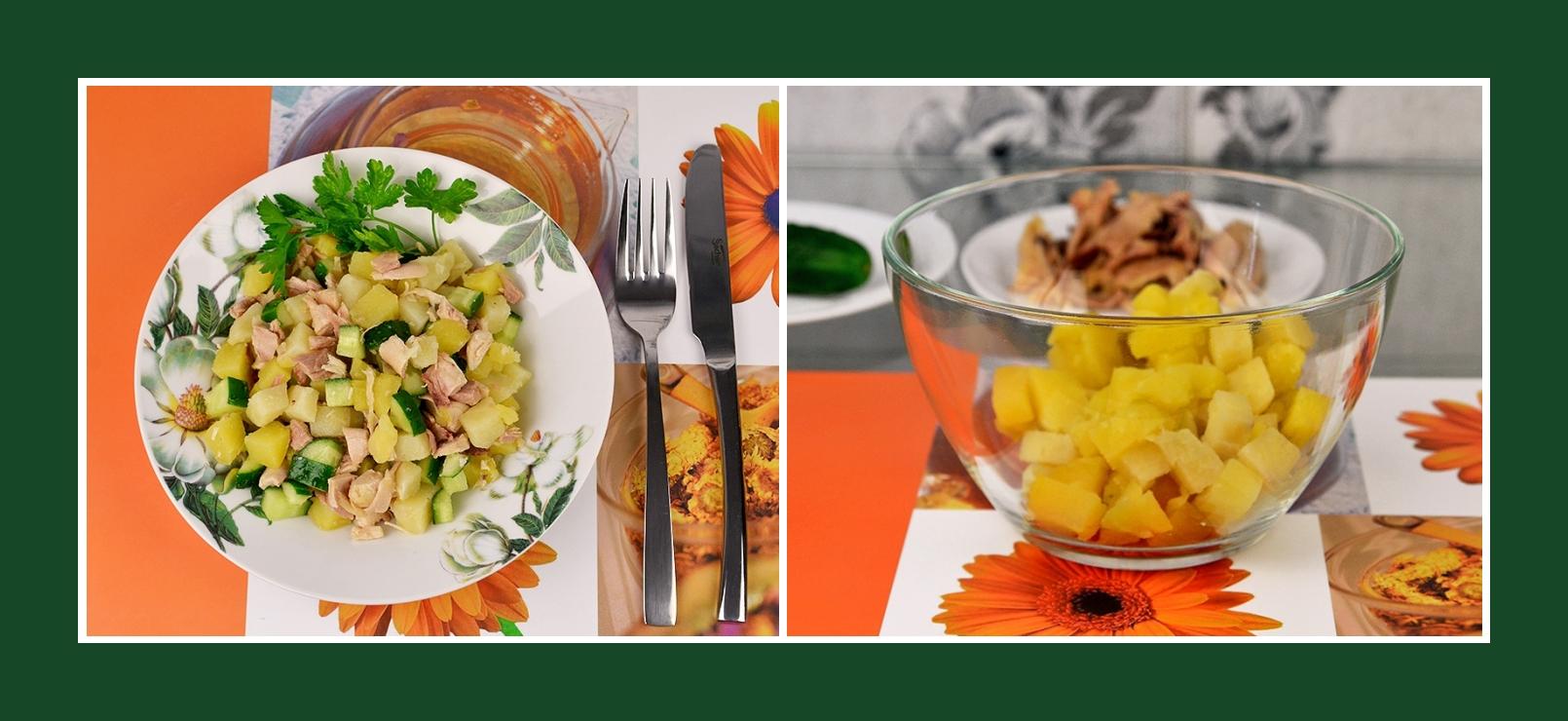 Schneller und einfacher Salat mit gekochten Kartoffeln