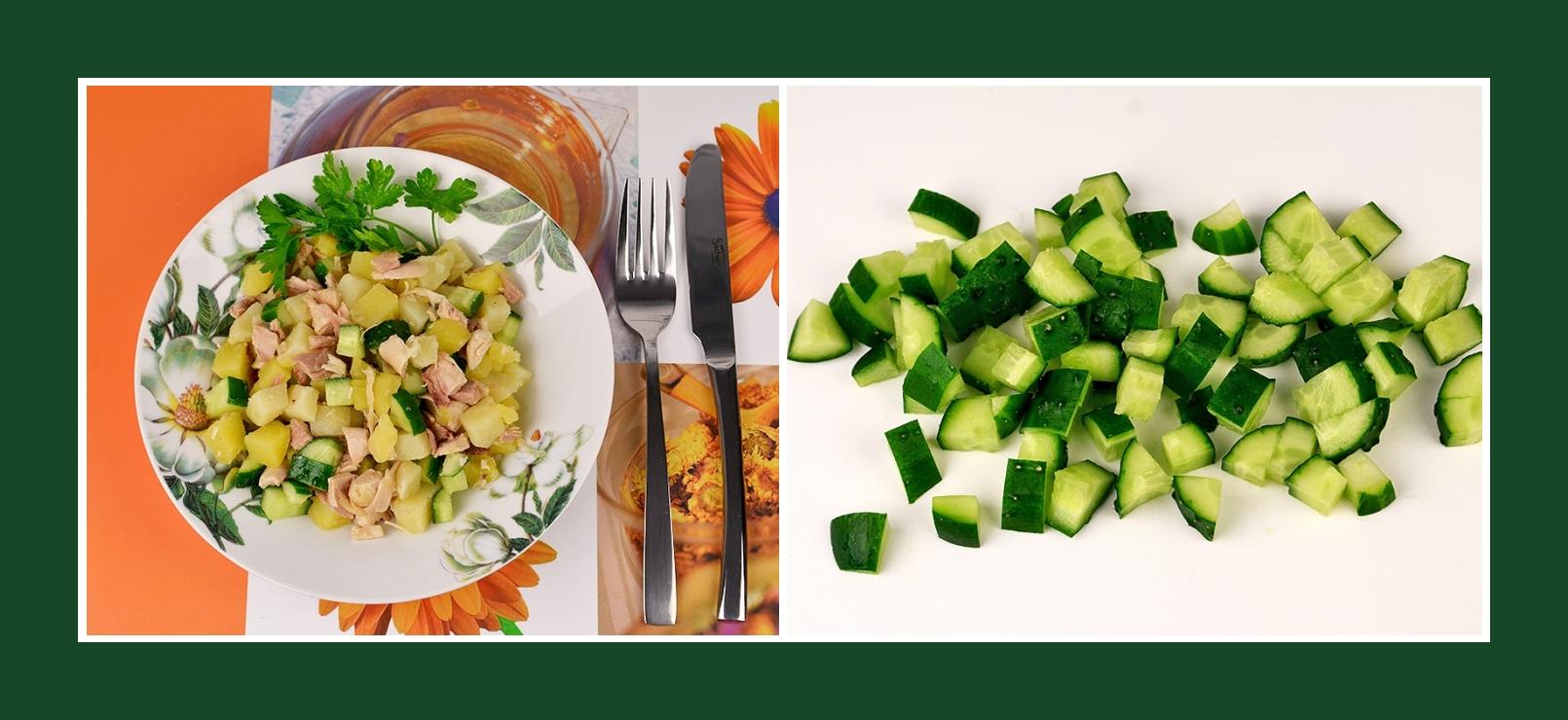Schneller Kartoffelsalat mit frischen Gurken