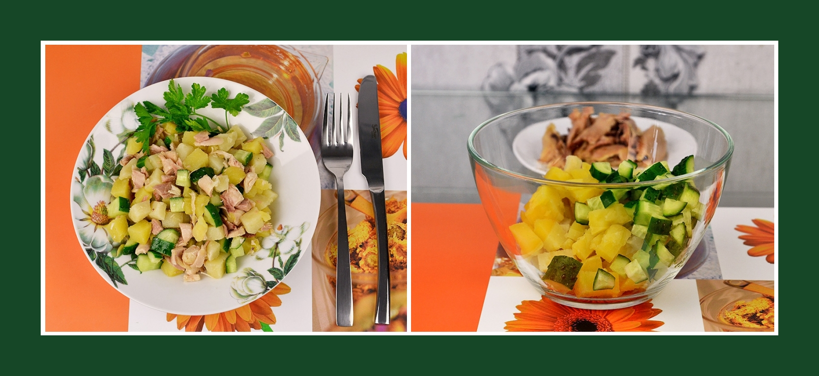Salat aus Kochkartoffeln und Gurken
