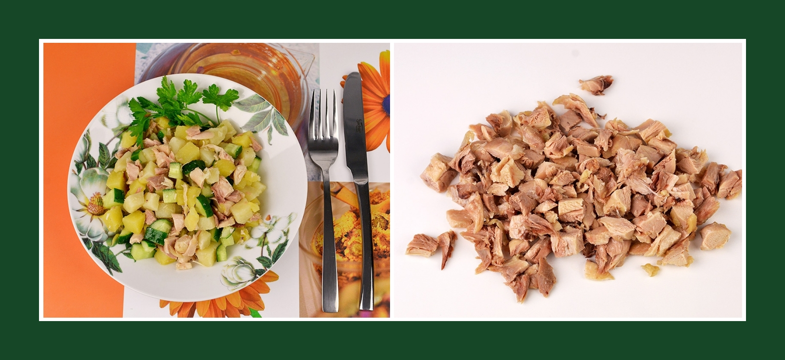 Schneller Kartoffelsalat mit Hähnchenfleisch oder Putenfleisch