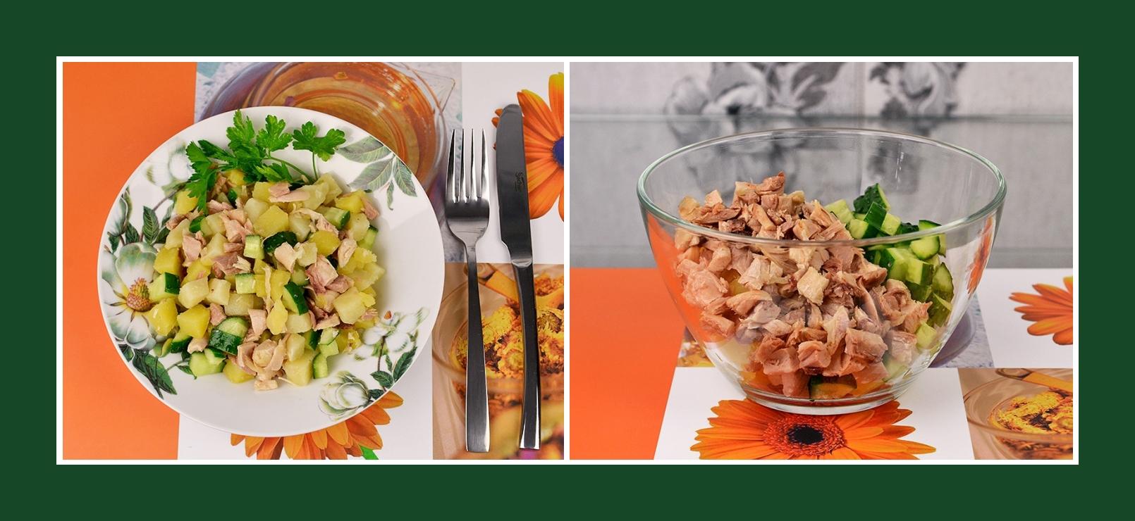 Salat aus Kartoffeln, Hähnchenfleisch und frischen Gurken