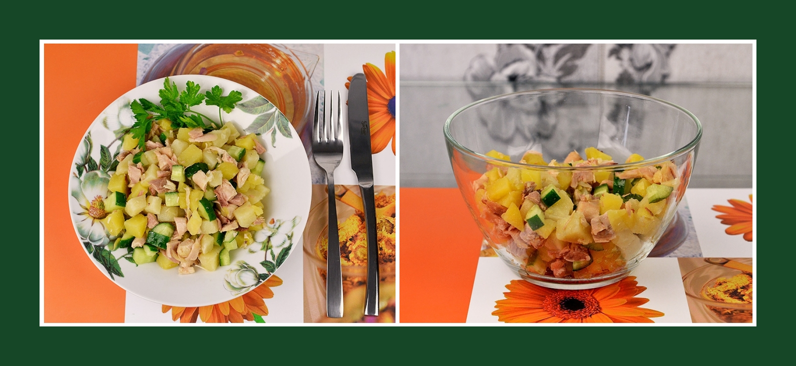 Sehr einfacher Kartoffelsalat mit Geflügel und frischem Gemüse