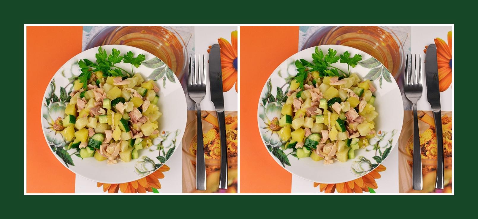 Nahrhafter Salat aus Kartoffeln, Gurken und Fleisch