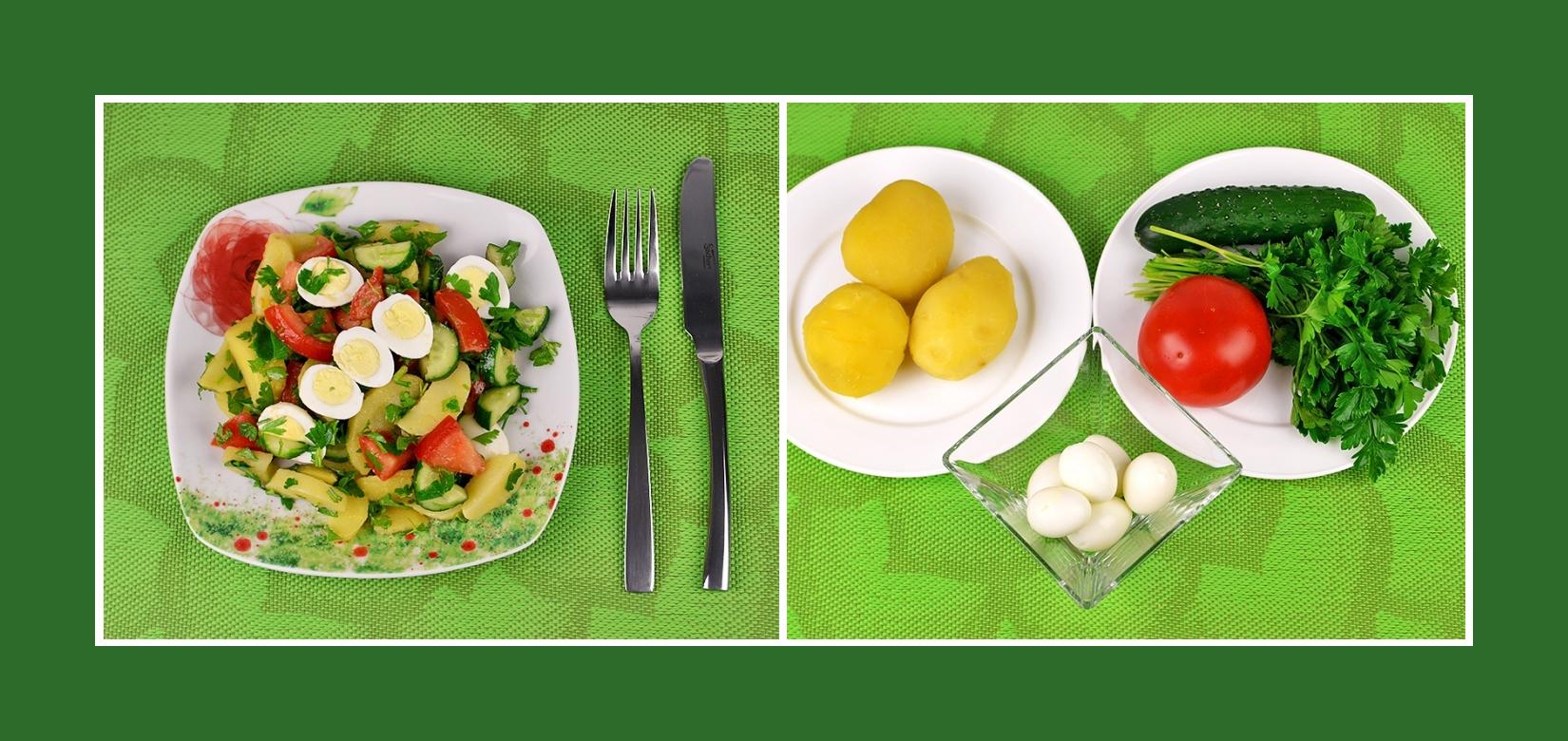 Nahrhafter Kartoffelsalat mit Wachtelei, Tomaten, Gurken und Petersilie