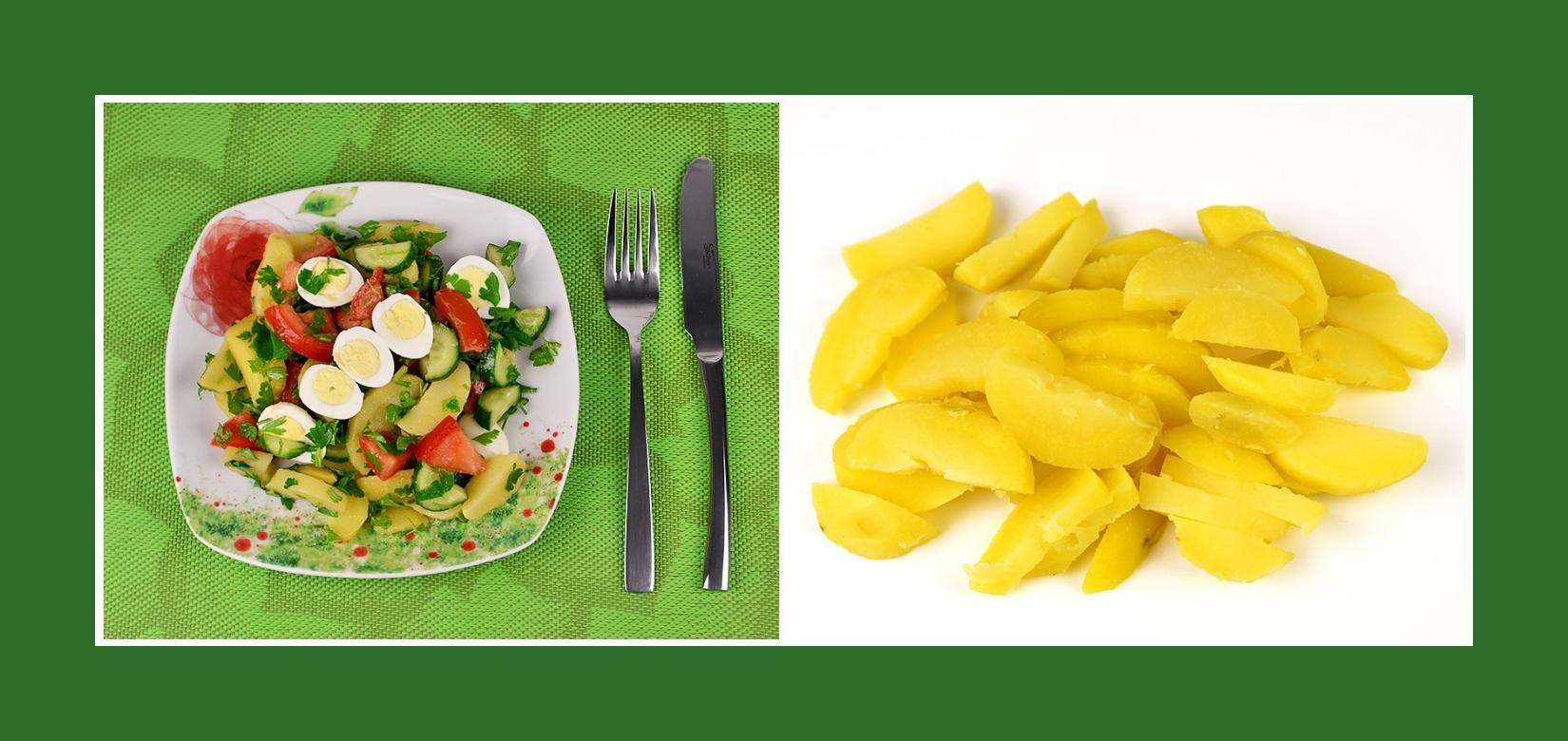 Salat mit Wachtelei und Kochkartoffeln