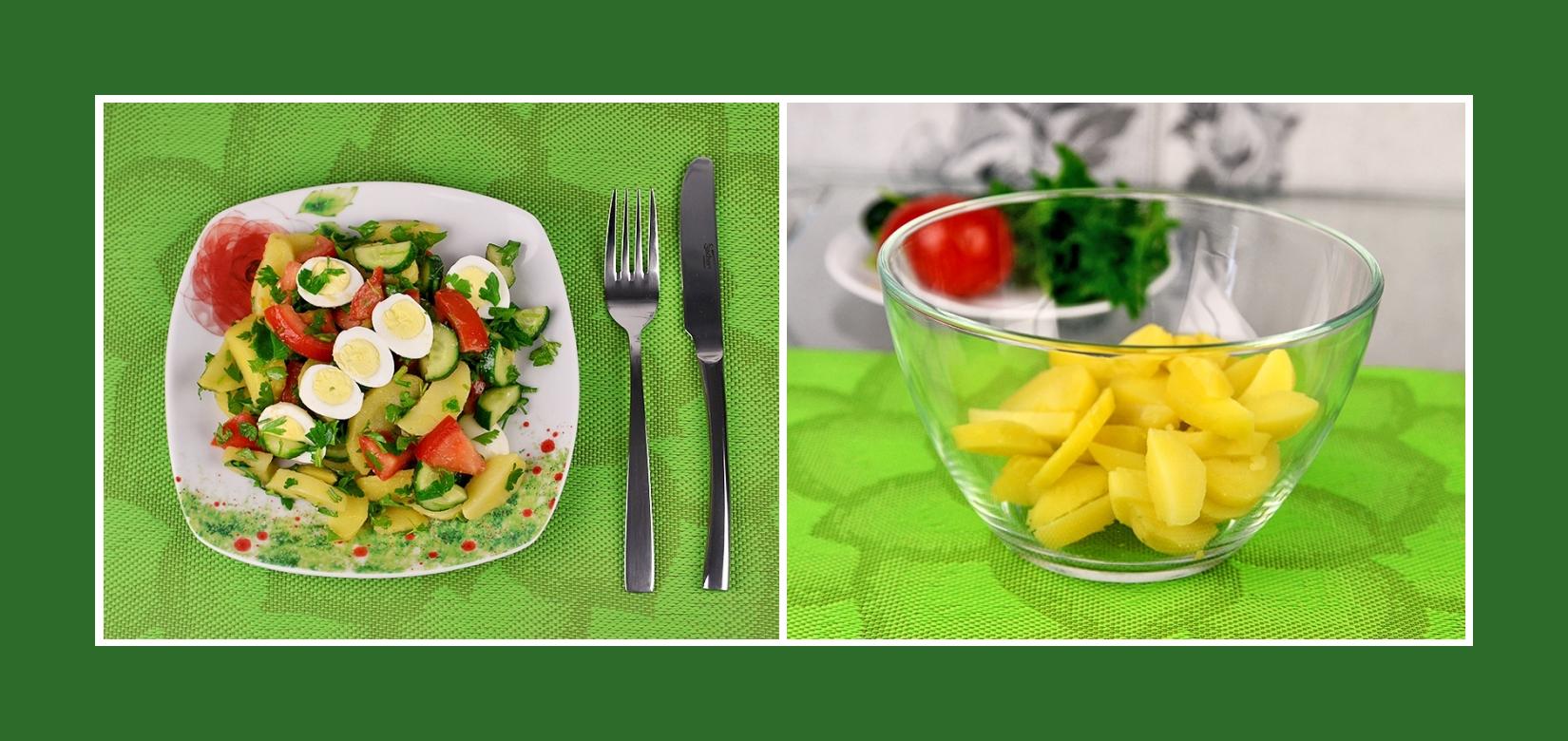Kartoffeln für einen Gemüsesalat mit Wachteleiern