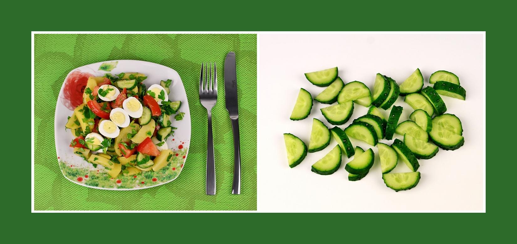 Frische Gurken für Kartoffelsalat mit Wachtelei