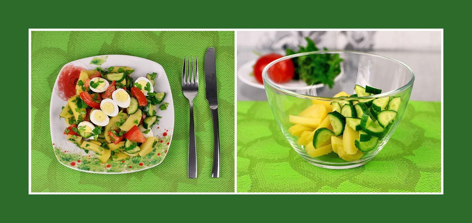 Salat aus Gurken und gekochten Kartoffeln