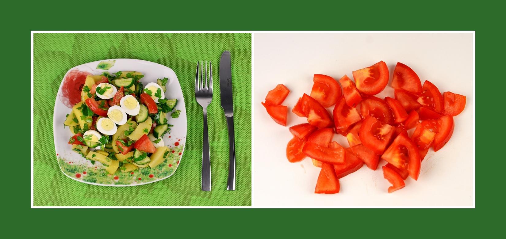 Frische Tomaten für Kartoffelsalat mit Wachteleiern