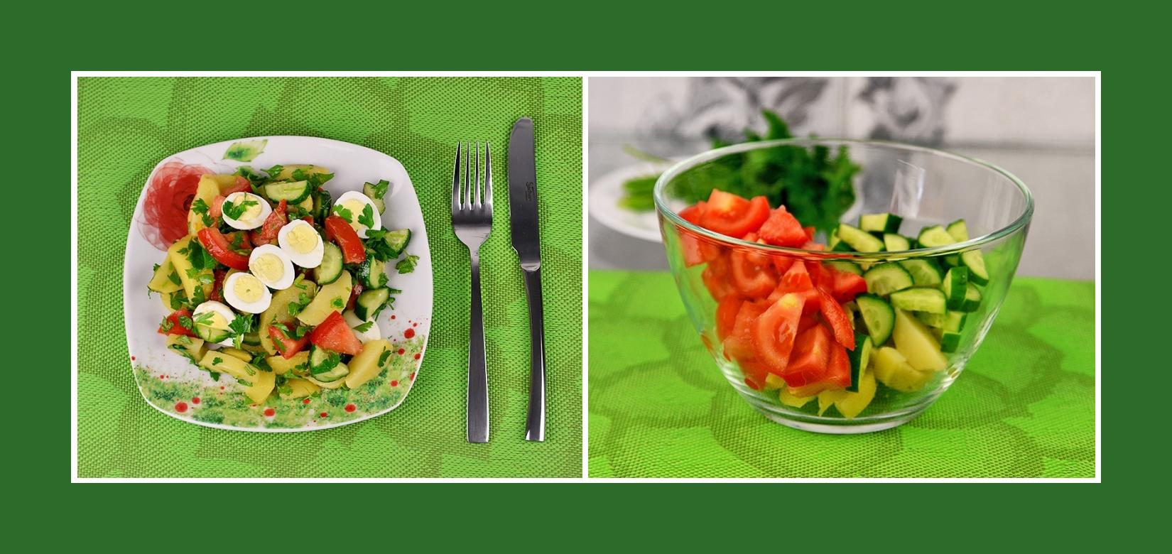 Salat aus Tomaten, gekochten Kartoffeln und Gurken