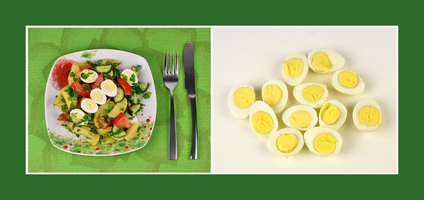 Wachteleier für Kartoffelsalat mit Gemüse