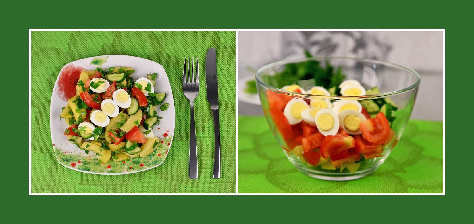 Salat aus Wachteleiern, gekochten Kartoffeln, Tomaten und Gurken