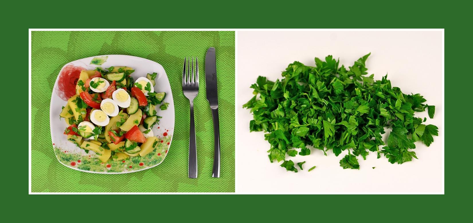 Petersilie für Kartoffelsalat mit Wachteleiern und Gemüse