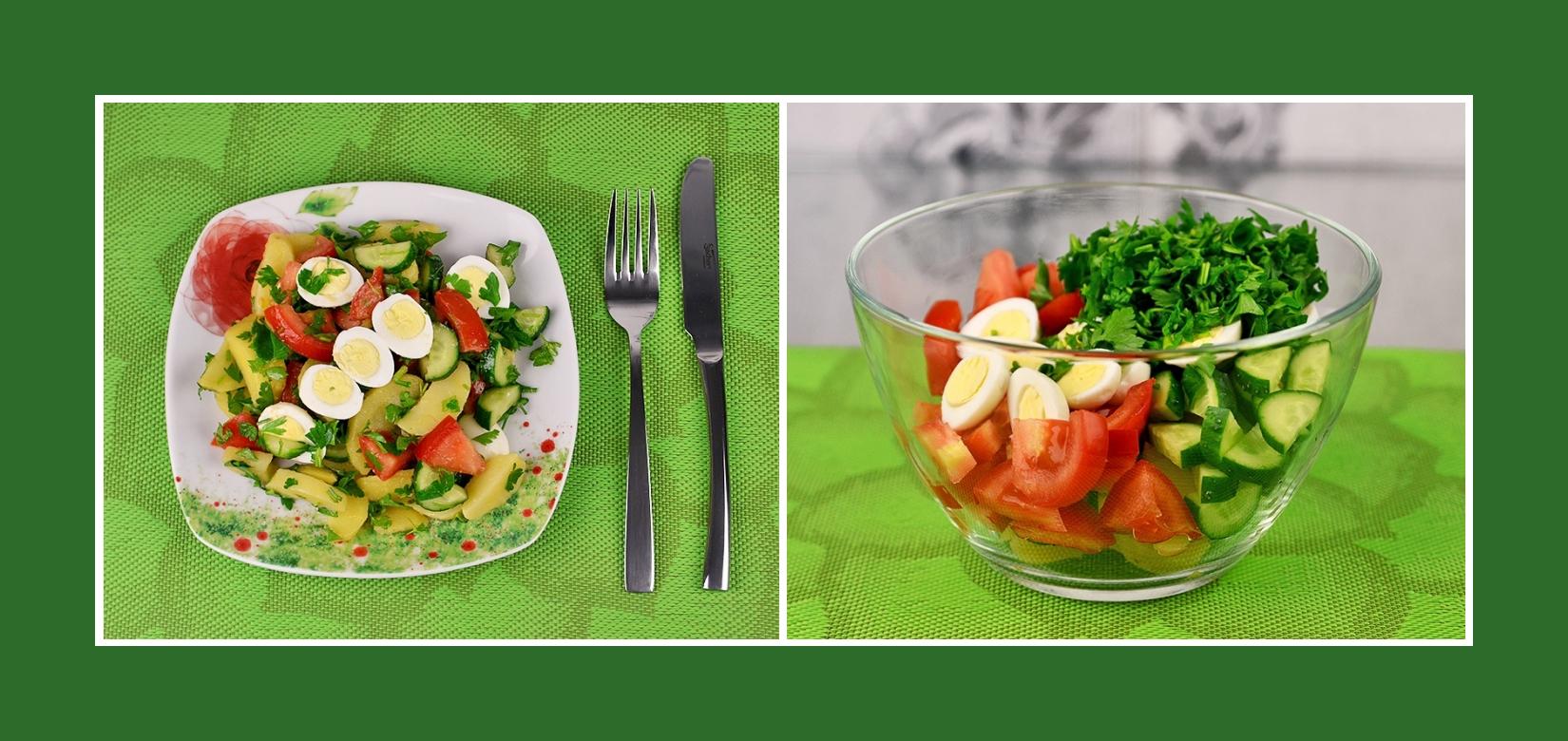Salat aus Wachteleiern, Tomaten, Gurken, gekochten Kartoffeln und Petersilie