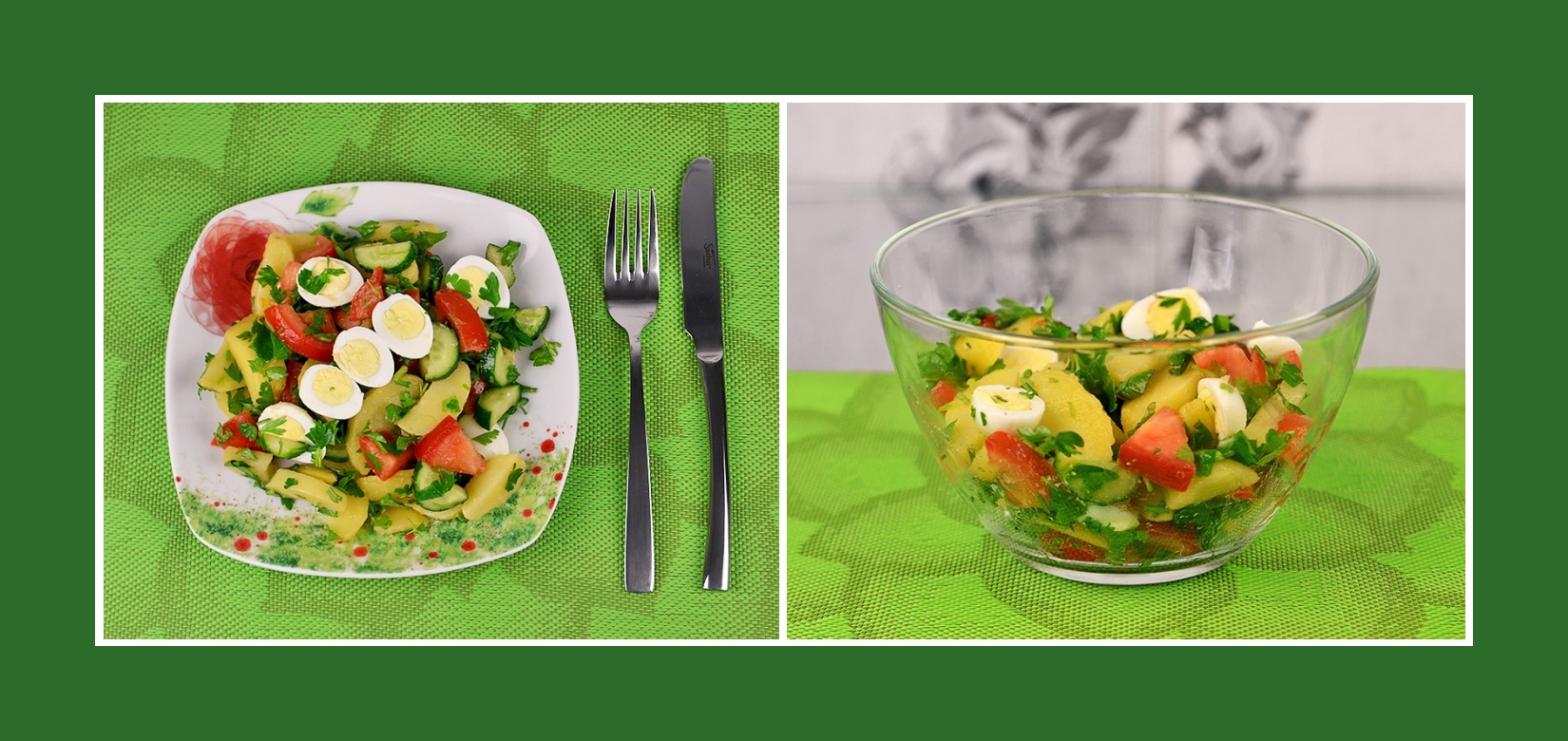 Bunter Kartoffelsalat mit frischem Gemüse, Kräutern und Wachtelei Delikatessen