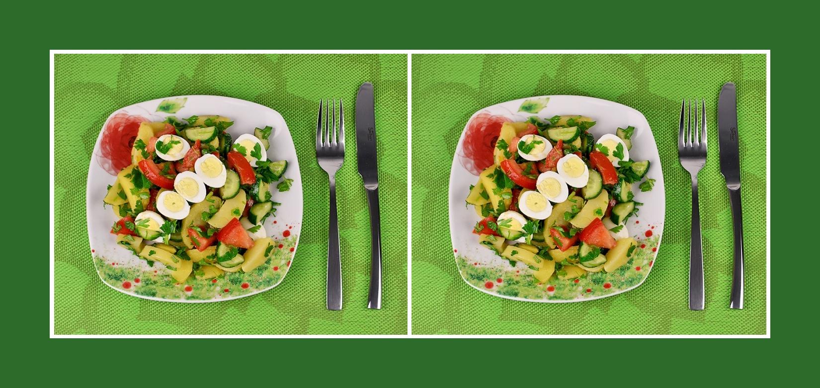Gesunder Gemüsesalat mit Wachteleiern