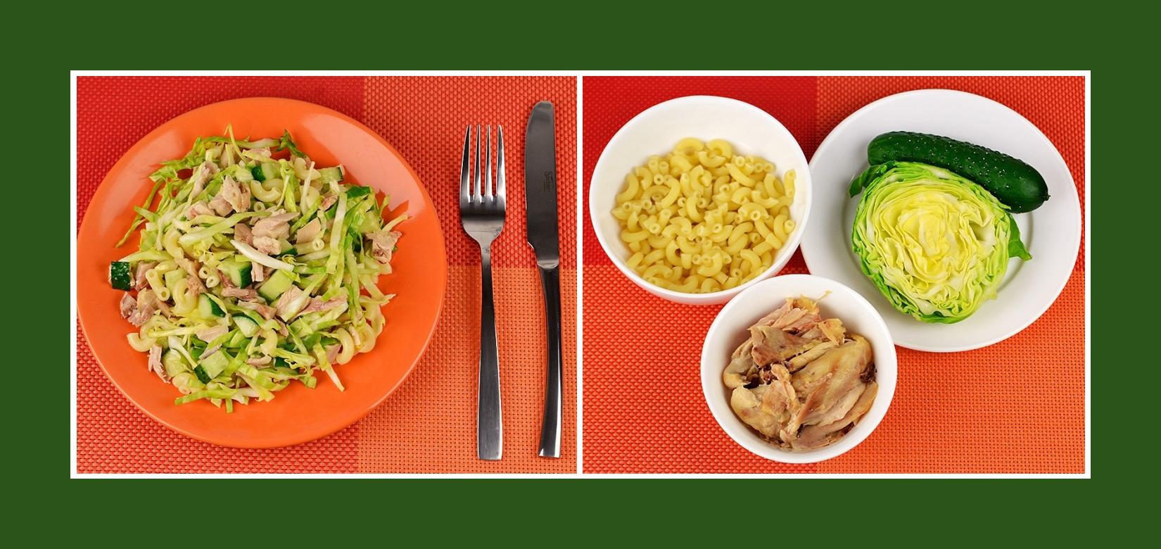 Erfrischender und vitaminenreicher Frühlingssalat mit Frühkraut, Gurken, Nudeln und Geflügelfleisch