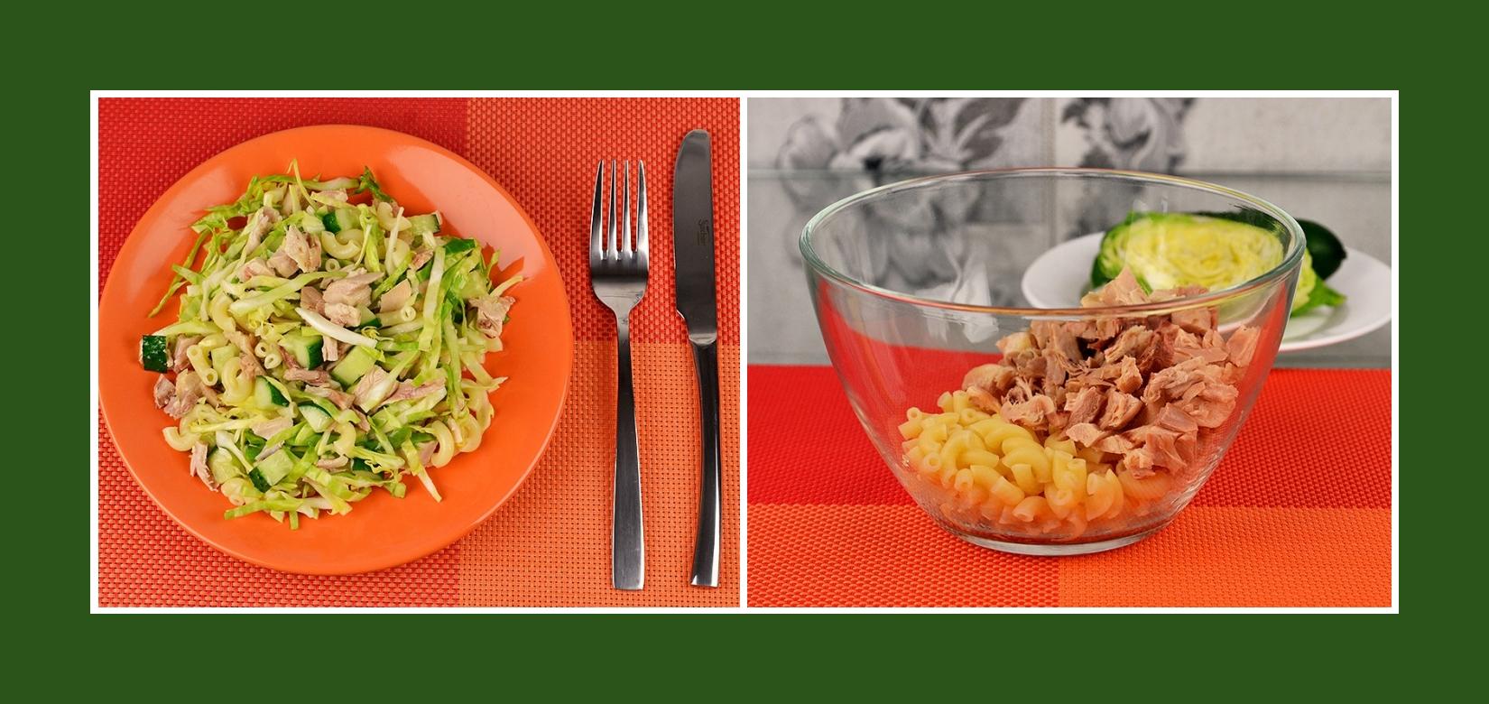 Nudelsalat mit Hähnchenfleisch oder Putenfleisch
