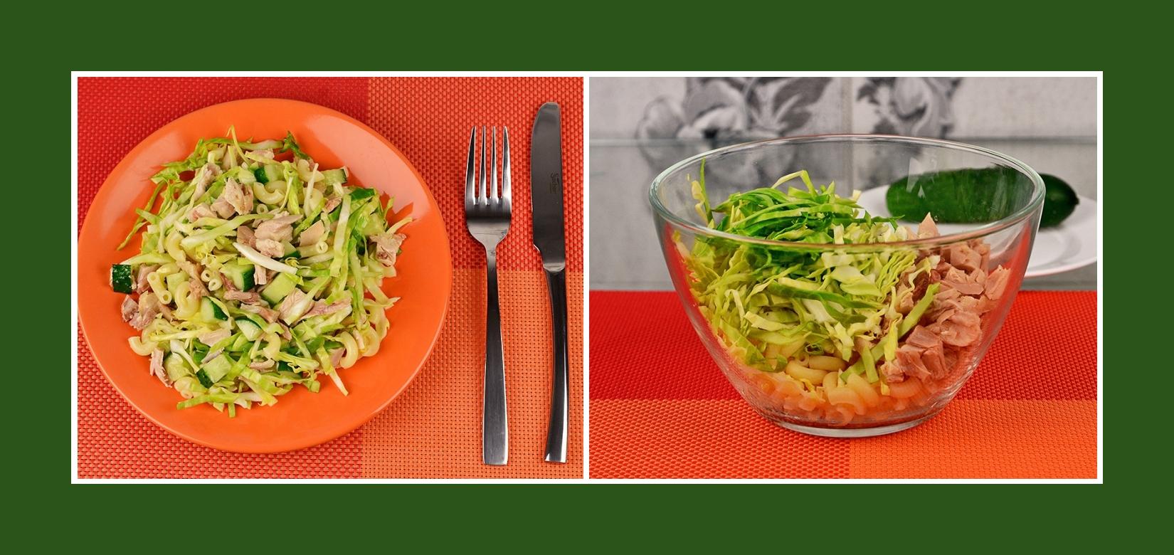 Nudelsalat mit Geflügel und Frühkraut Weißkohl