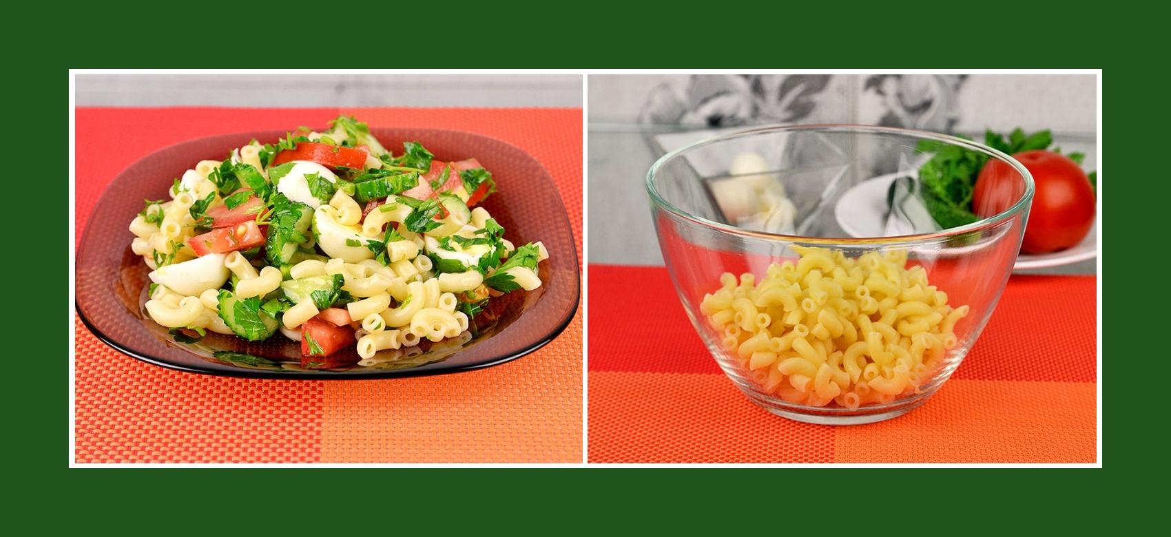 Nudeln für Gemüsesalat mit Wachteleiern