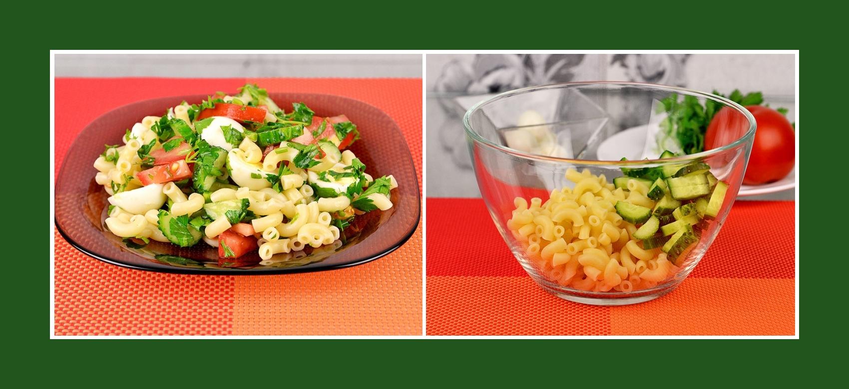 Salat aus Nudeln und frischen Gurken