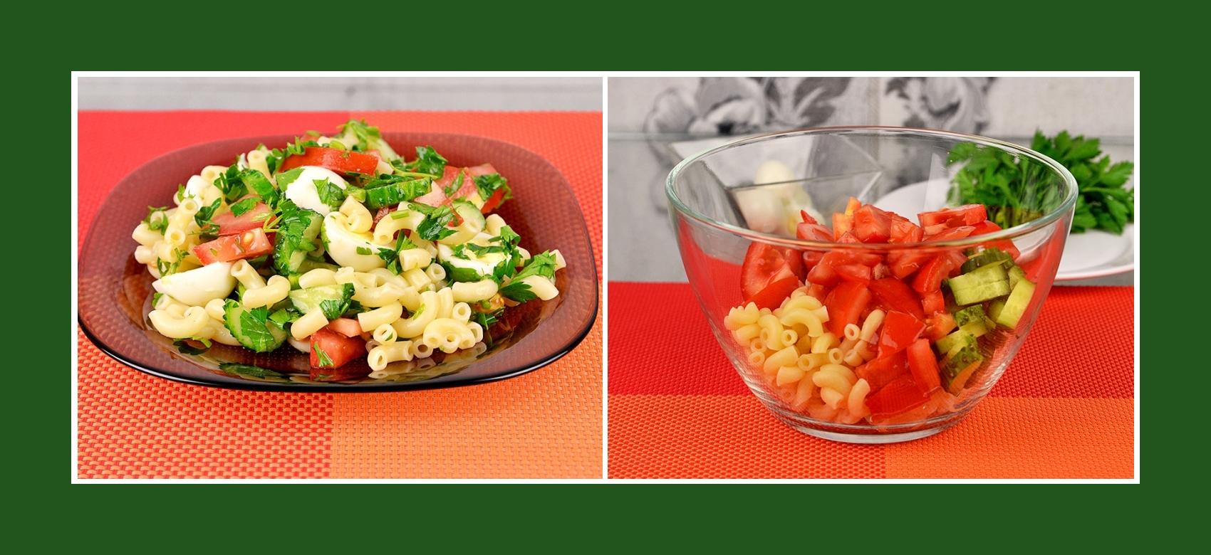 Salat aus Nudeln, frischen Gurken und Tomaten