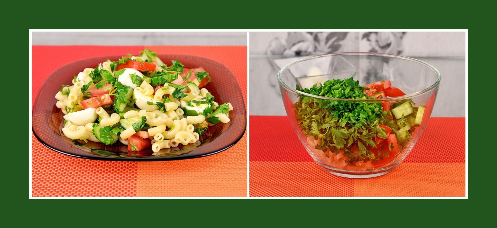 Salat mit Nudeln, frischen Tomaten, Gurken und Petersilie