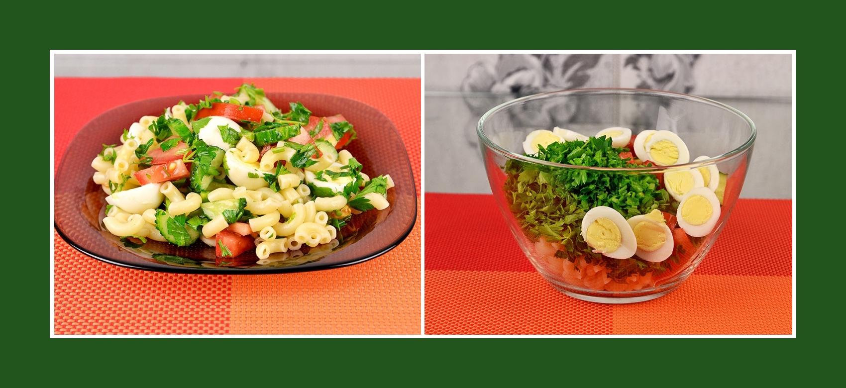 Salat mit Nudeln, Wachteleiern, frischem Kraut und Gemüse
