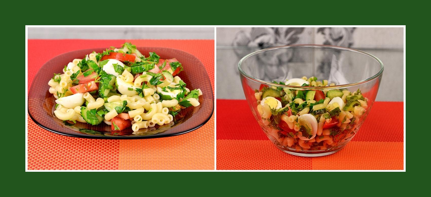 Bunter Nudelsalat mit Gurken, Tomaten und Wachteleiern