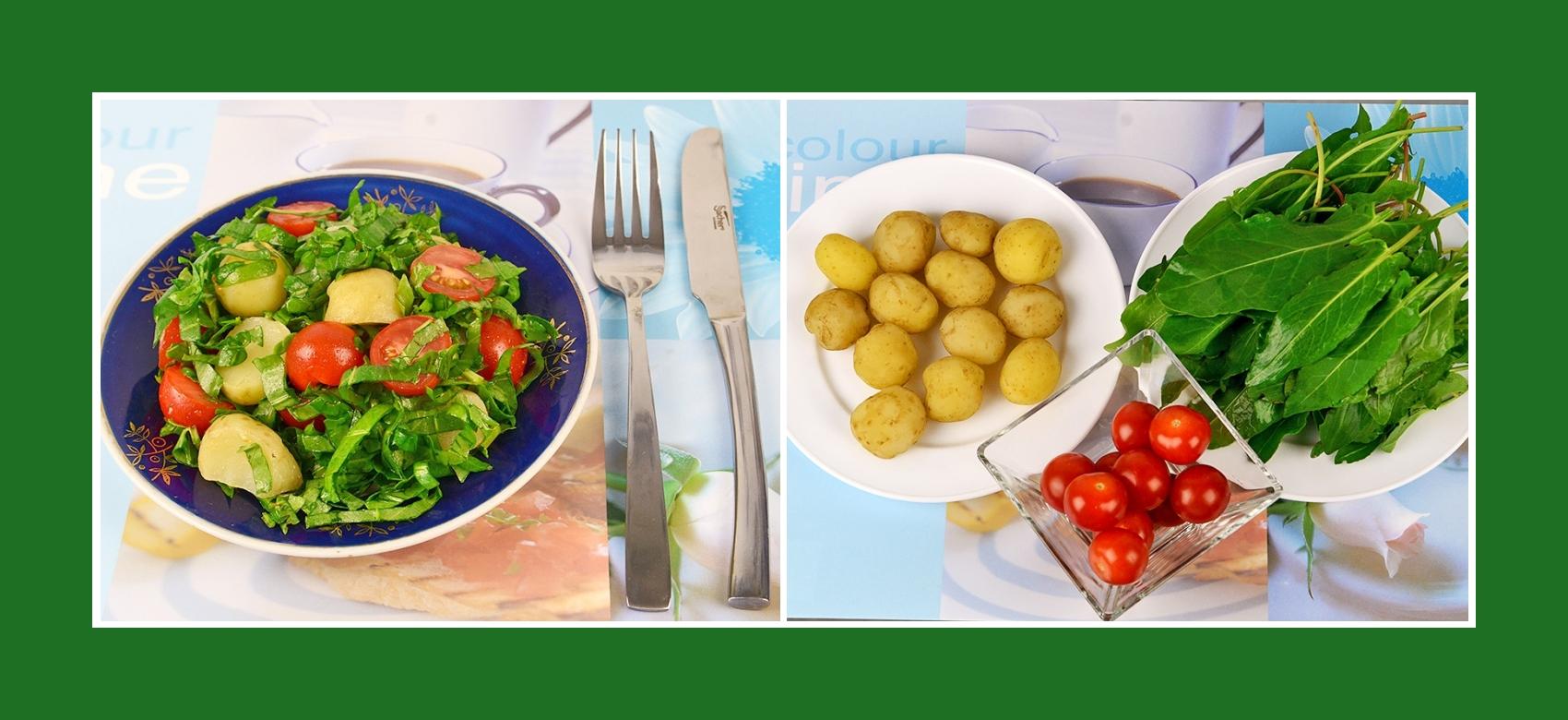 Einfacher und köstlicher Salat aus Frühkartoffeln, Cherrytomaten und Sauerampfer